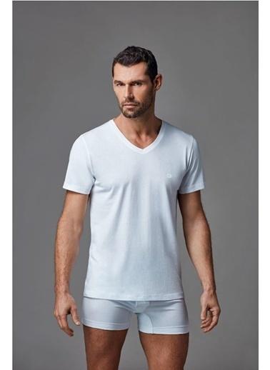 Dagi V Yaka T-Shirt 2'li Beyaz